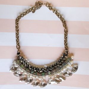 Zara Crystal & Pearls statement necklace